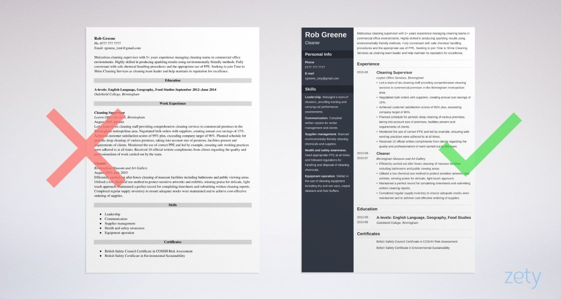 cleaner cv templates