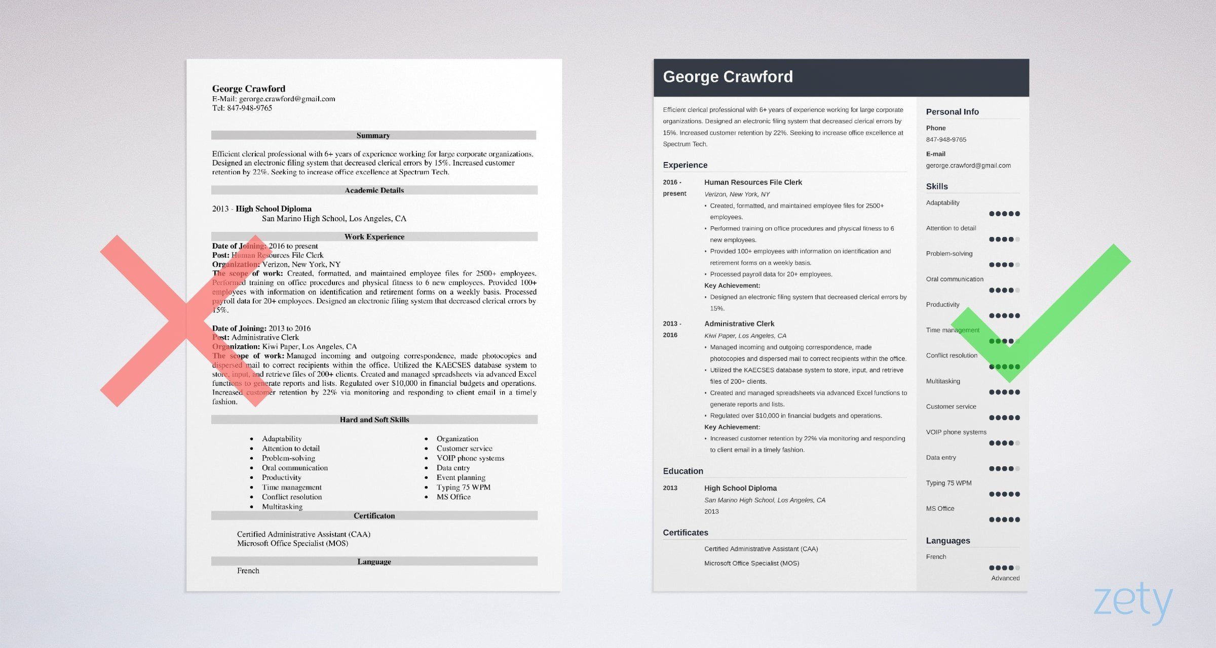 clerk resume templates
