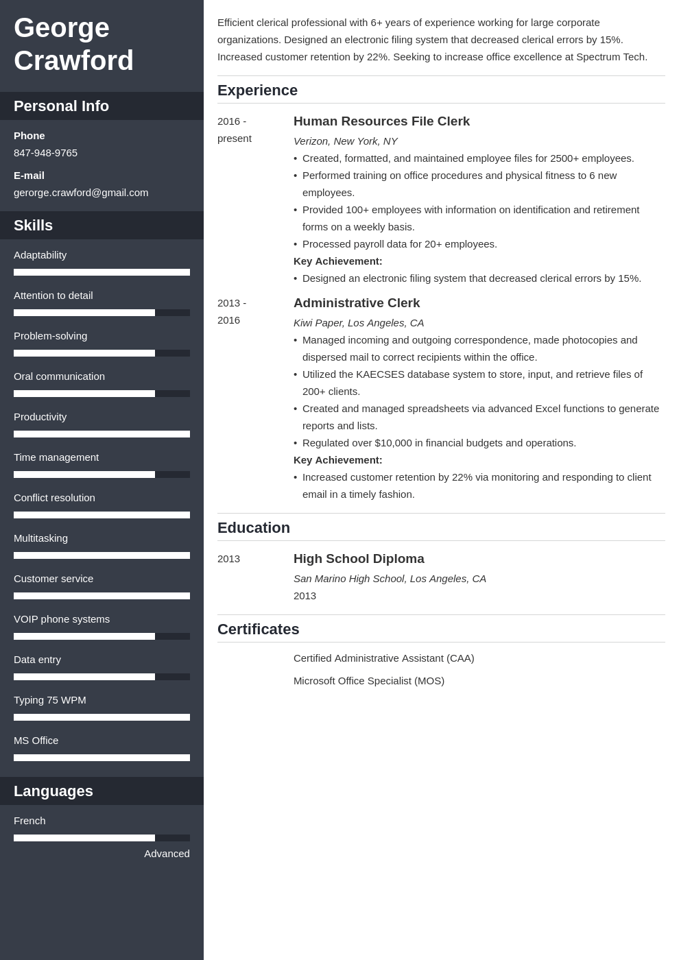 clerical resume example template cascade