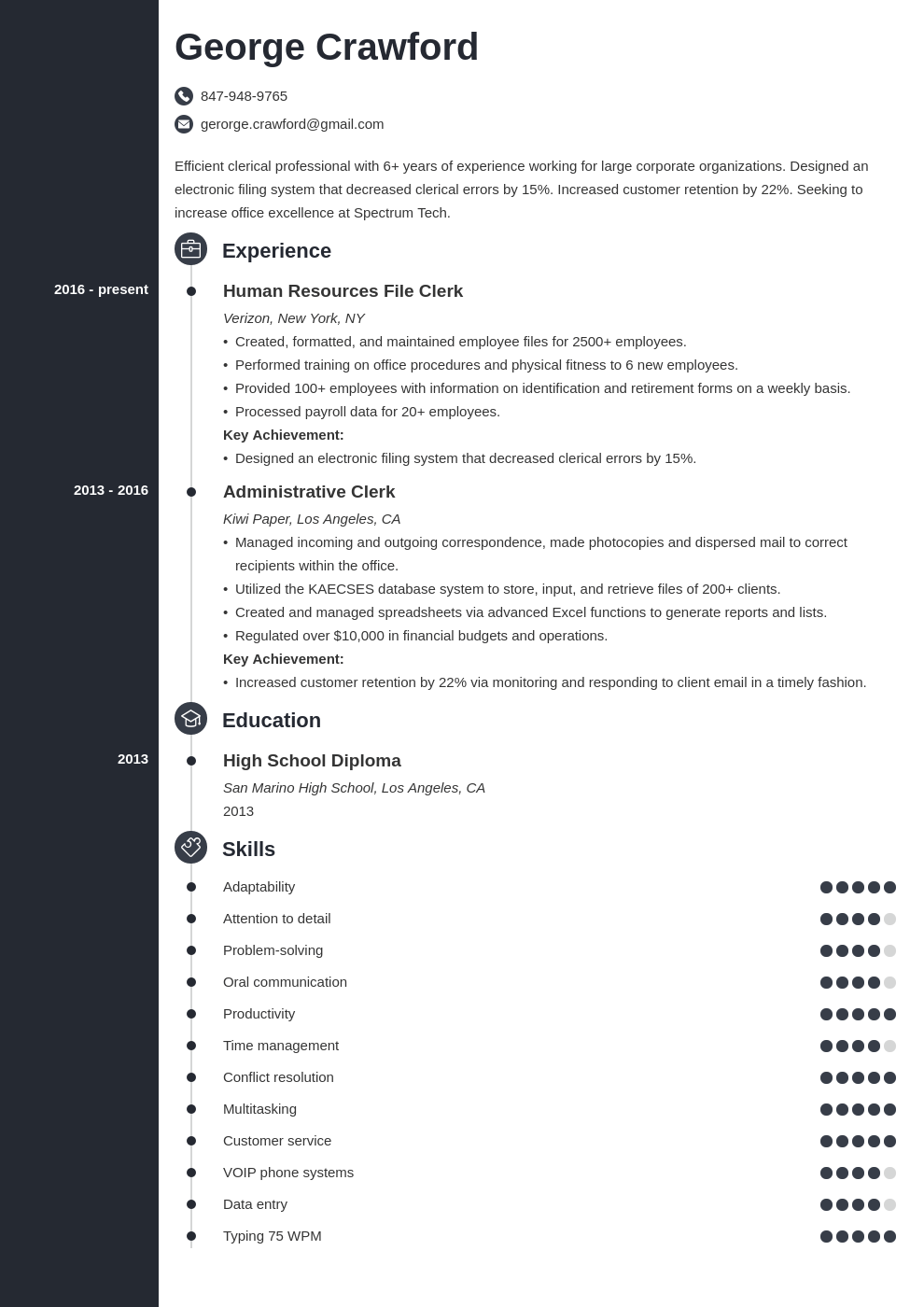 clerical resume example template concept