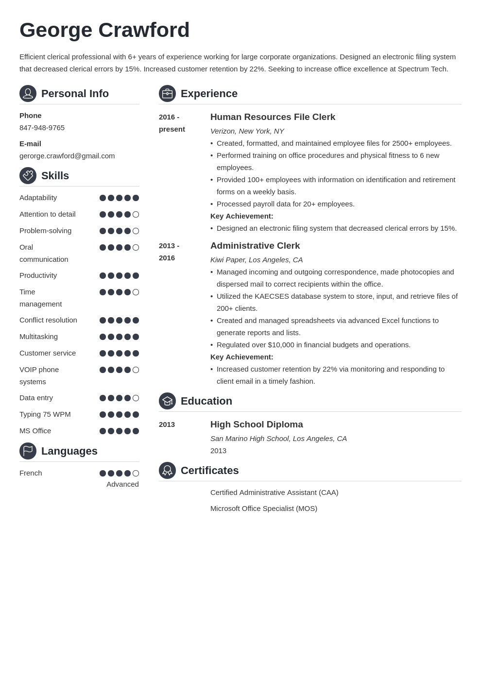 clerical resume example template crisp
