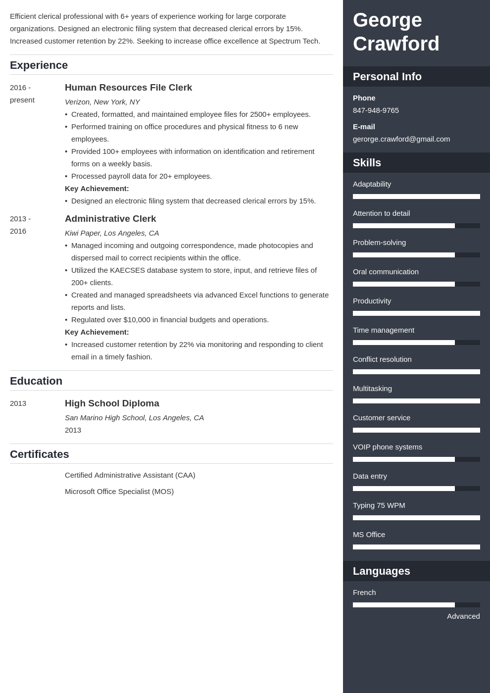 clerical resume example template enfold