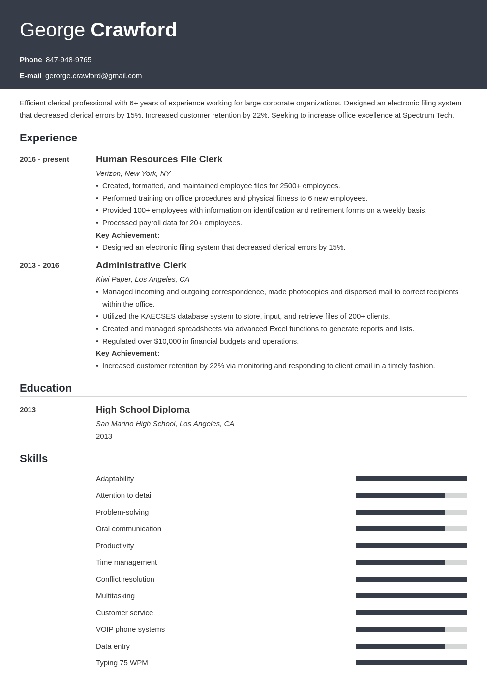 clerical resume example template influx