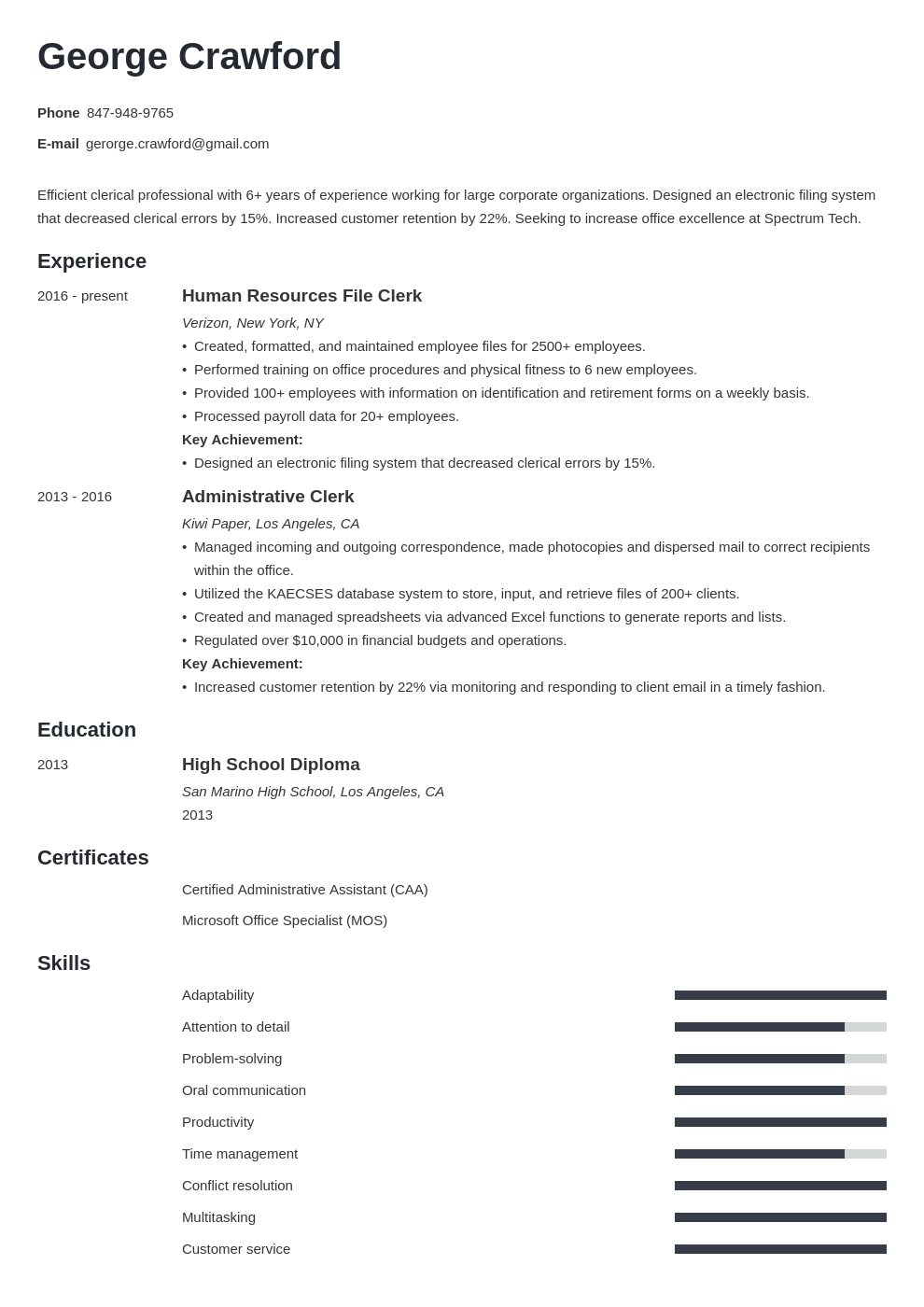 clerical resume example template minimo