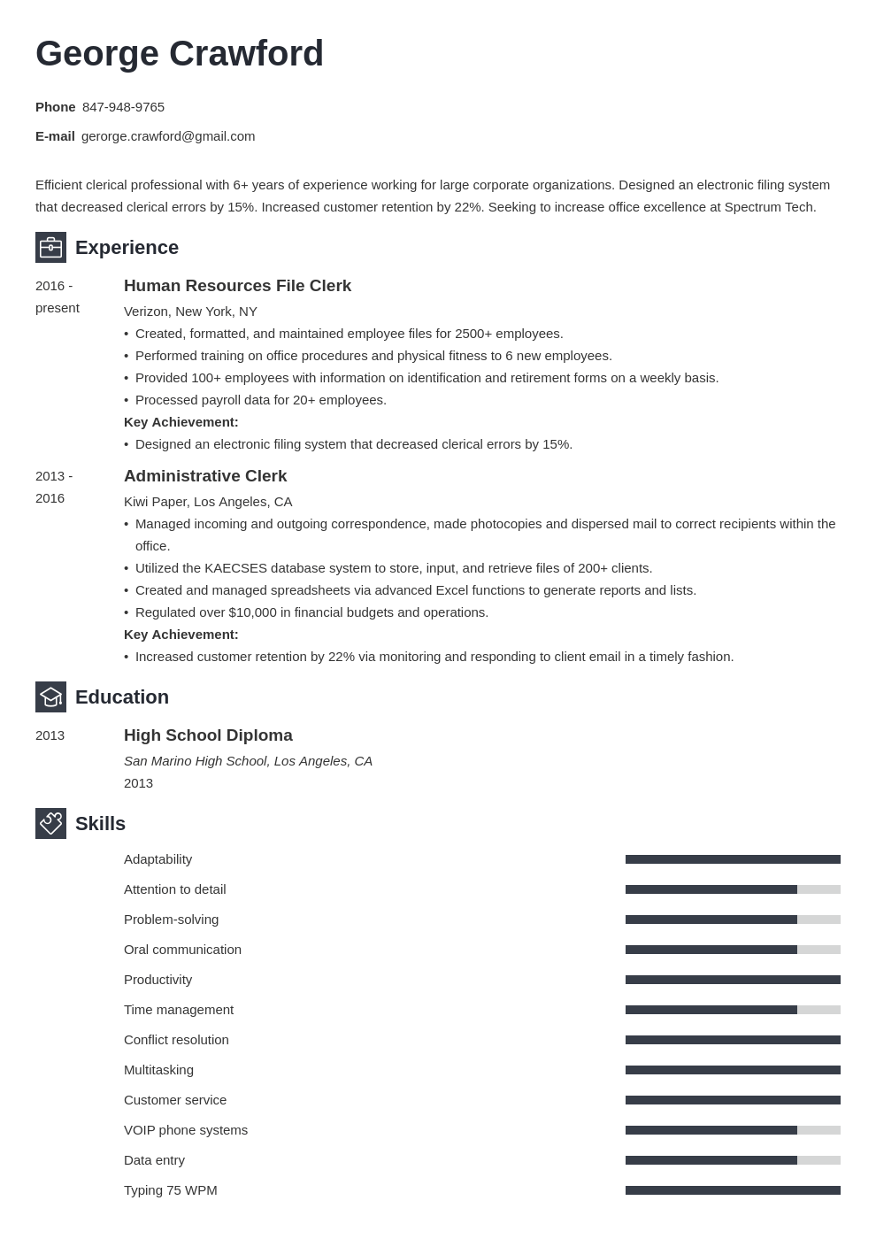 clerical resume example template newcast