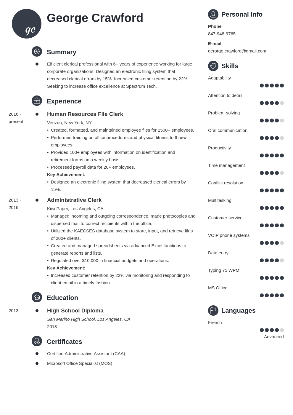 clerical resume example template primo