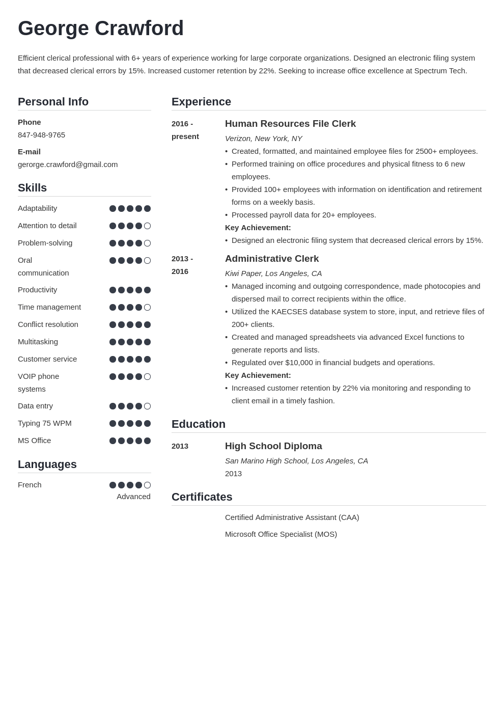 clerical resume example template simple