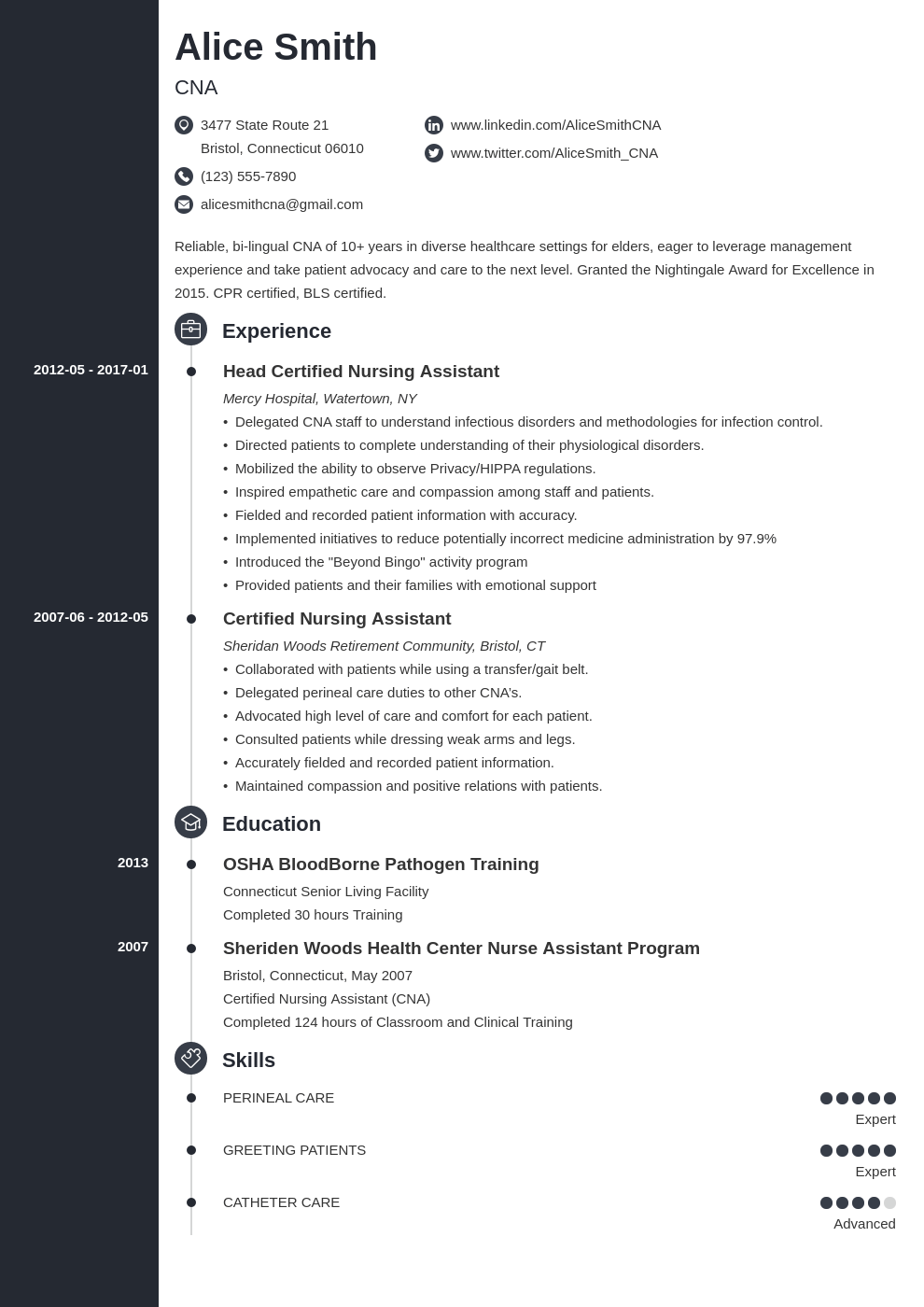 cna resume example template concept