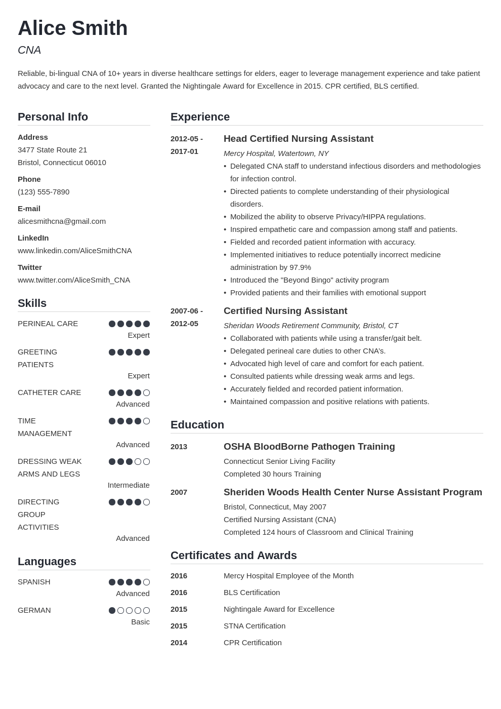 cna resume example template simple