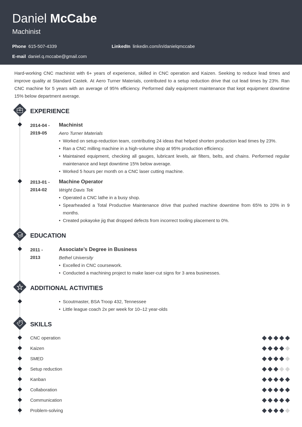 cnc machinist resume example template diamond