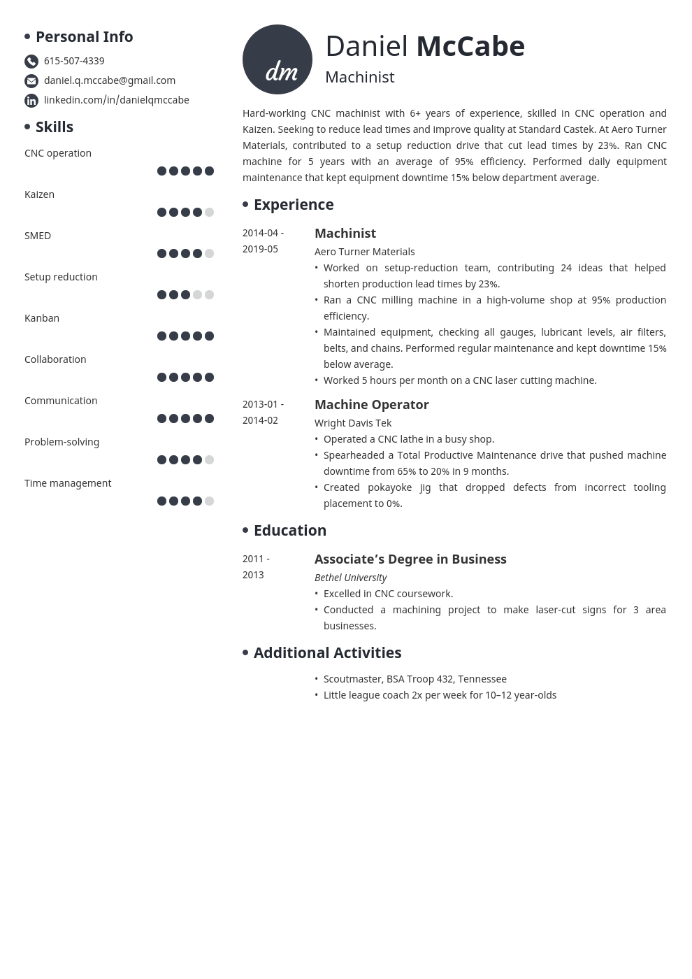 cnc machinist resume example template initials