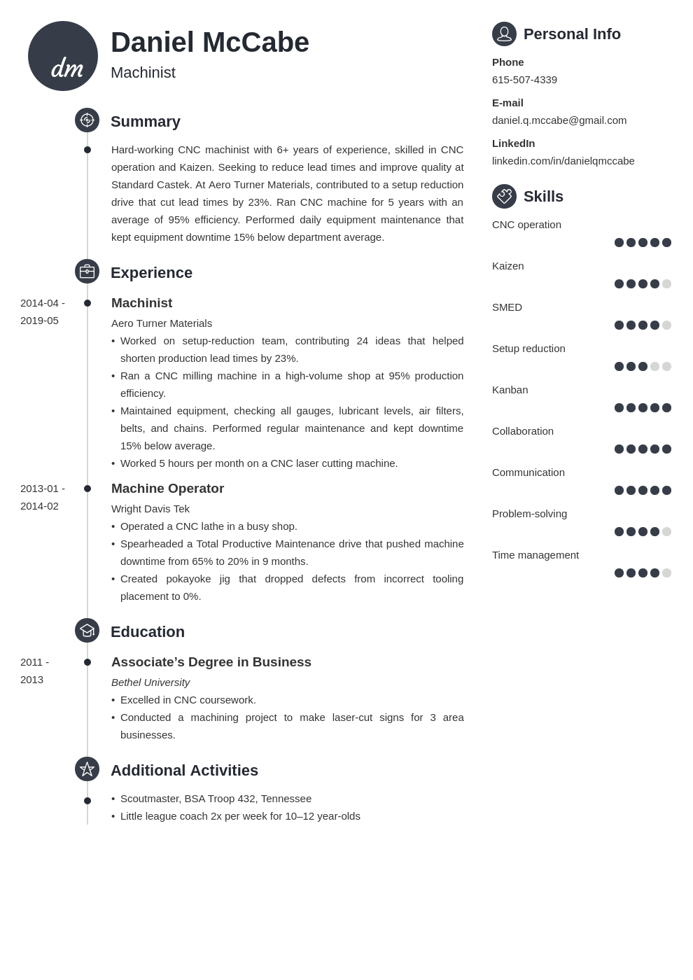 cnc machinist resume example template primo