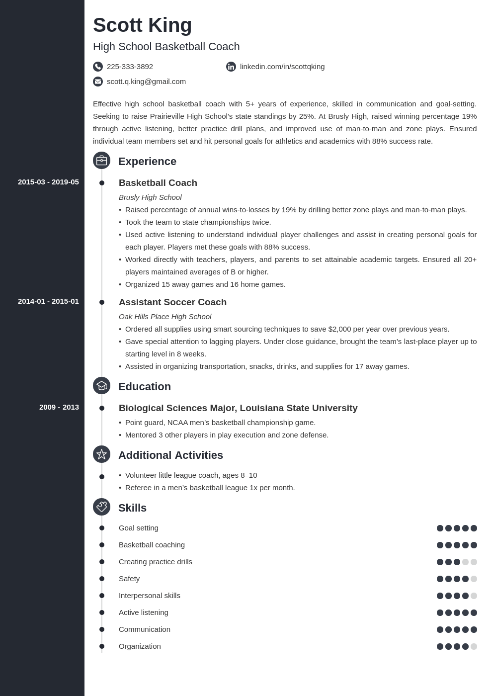 coaching resume example template concept
