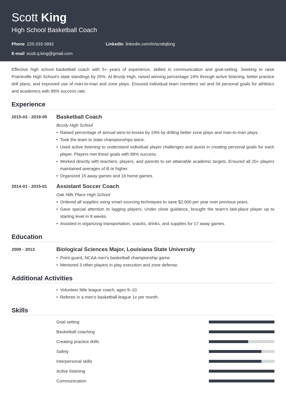 coaching resume example template influx
