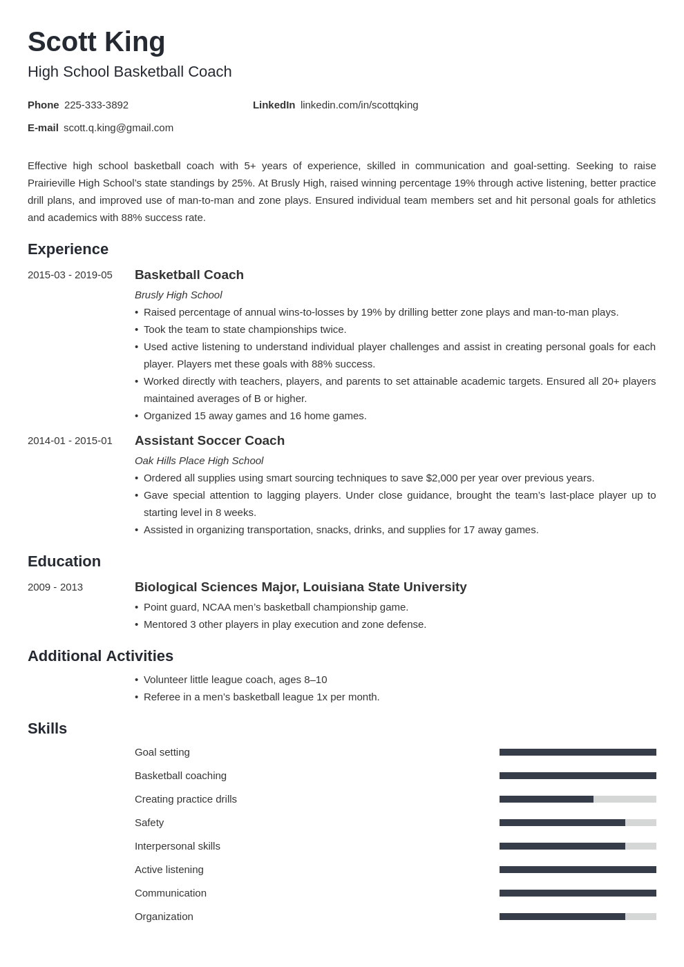 coaching resume example template minimo