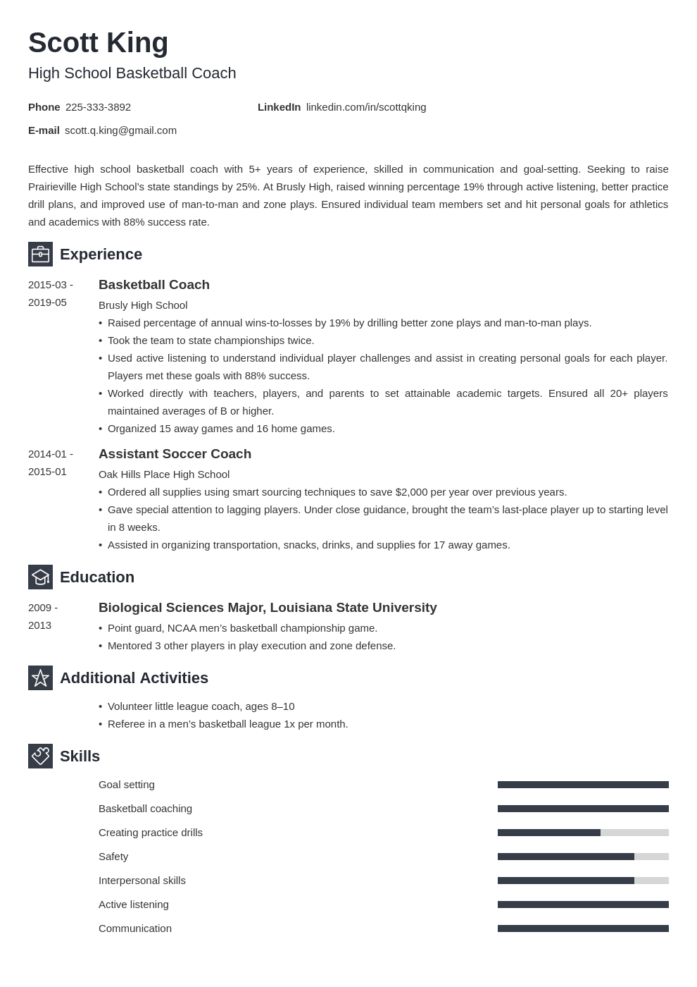 coaching resume example template newcast