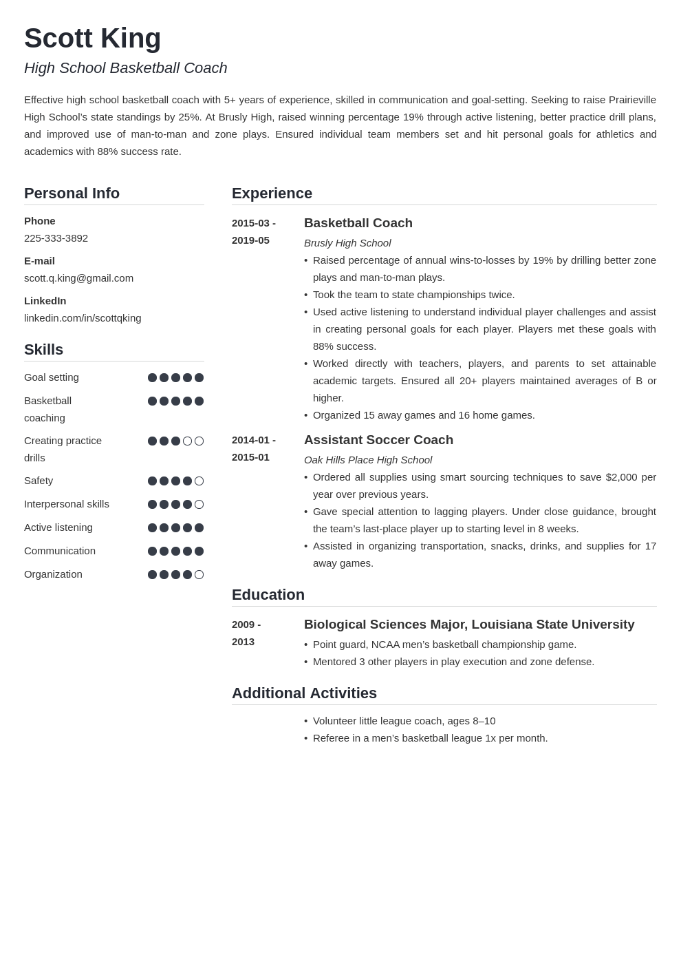 coaching resume example template simple