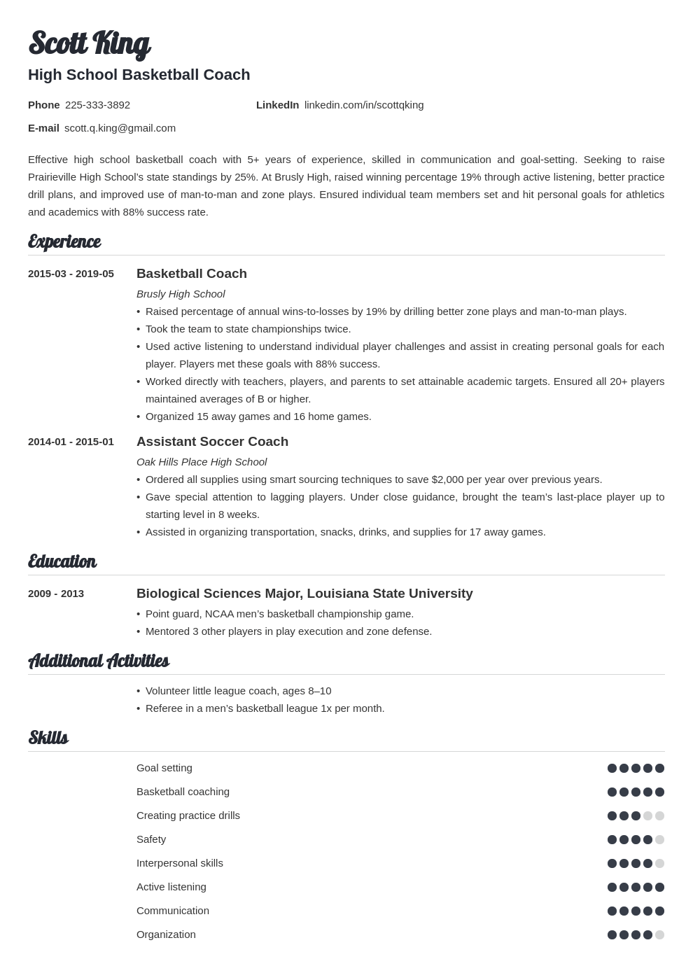 coaching resume example template valera