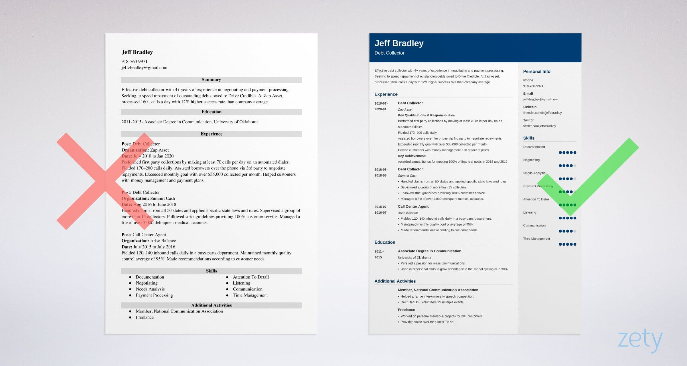 collector resume templates