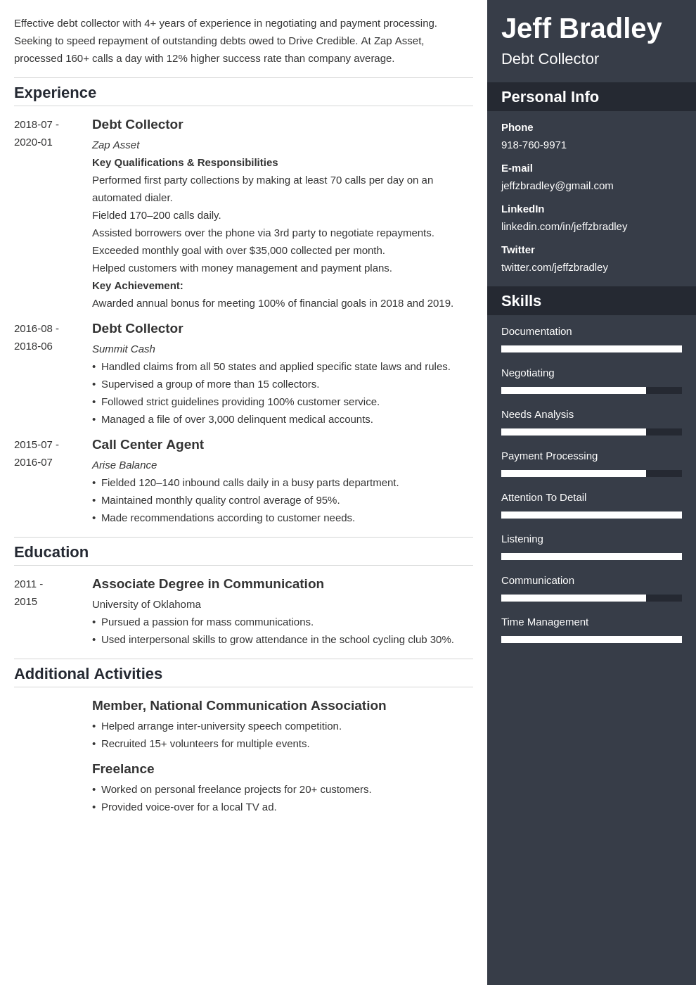 collector resume example template enfold
