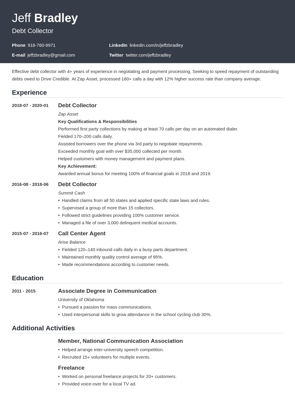 collector resume example template influx