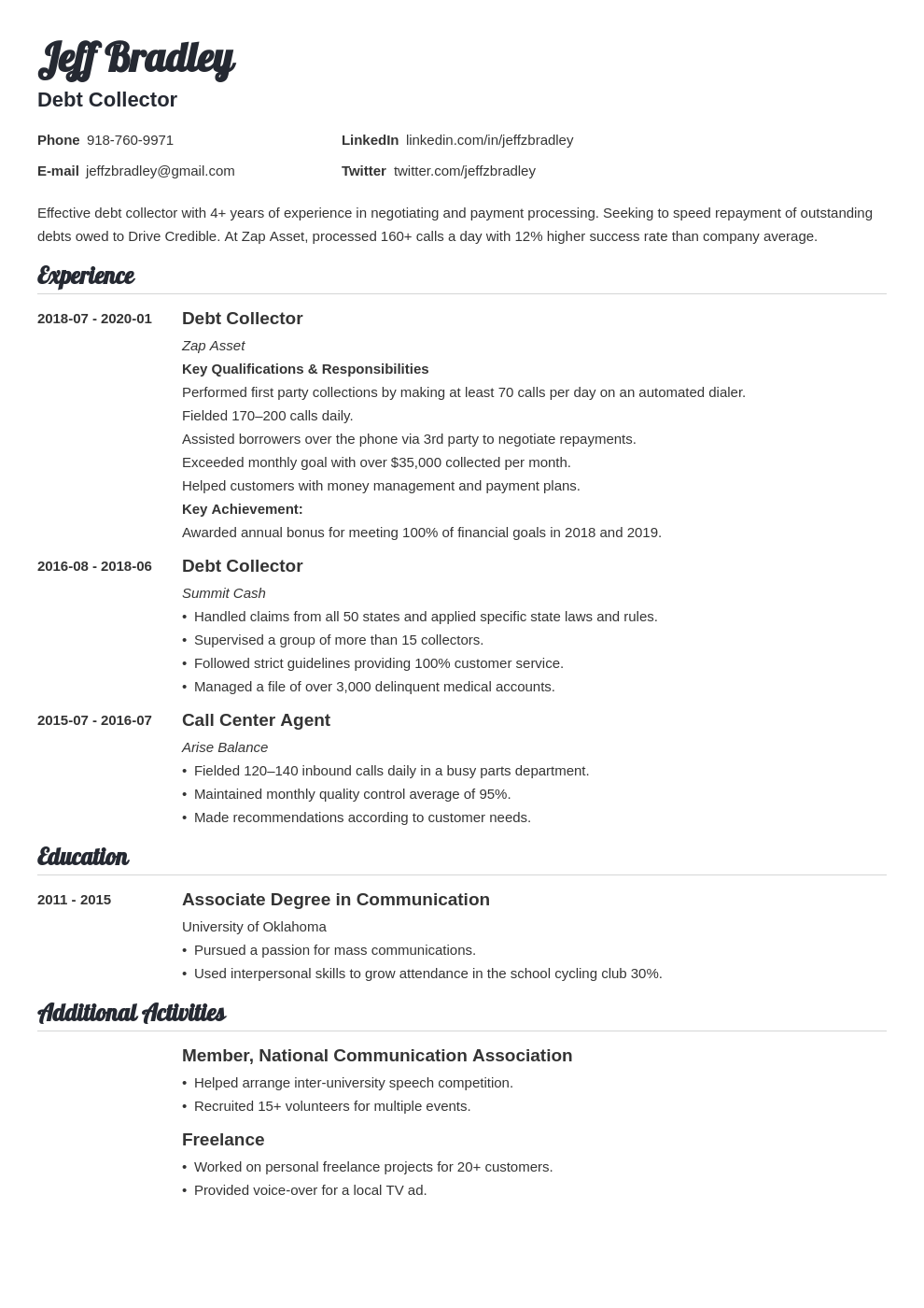 collector resume example template valera