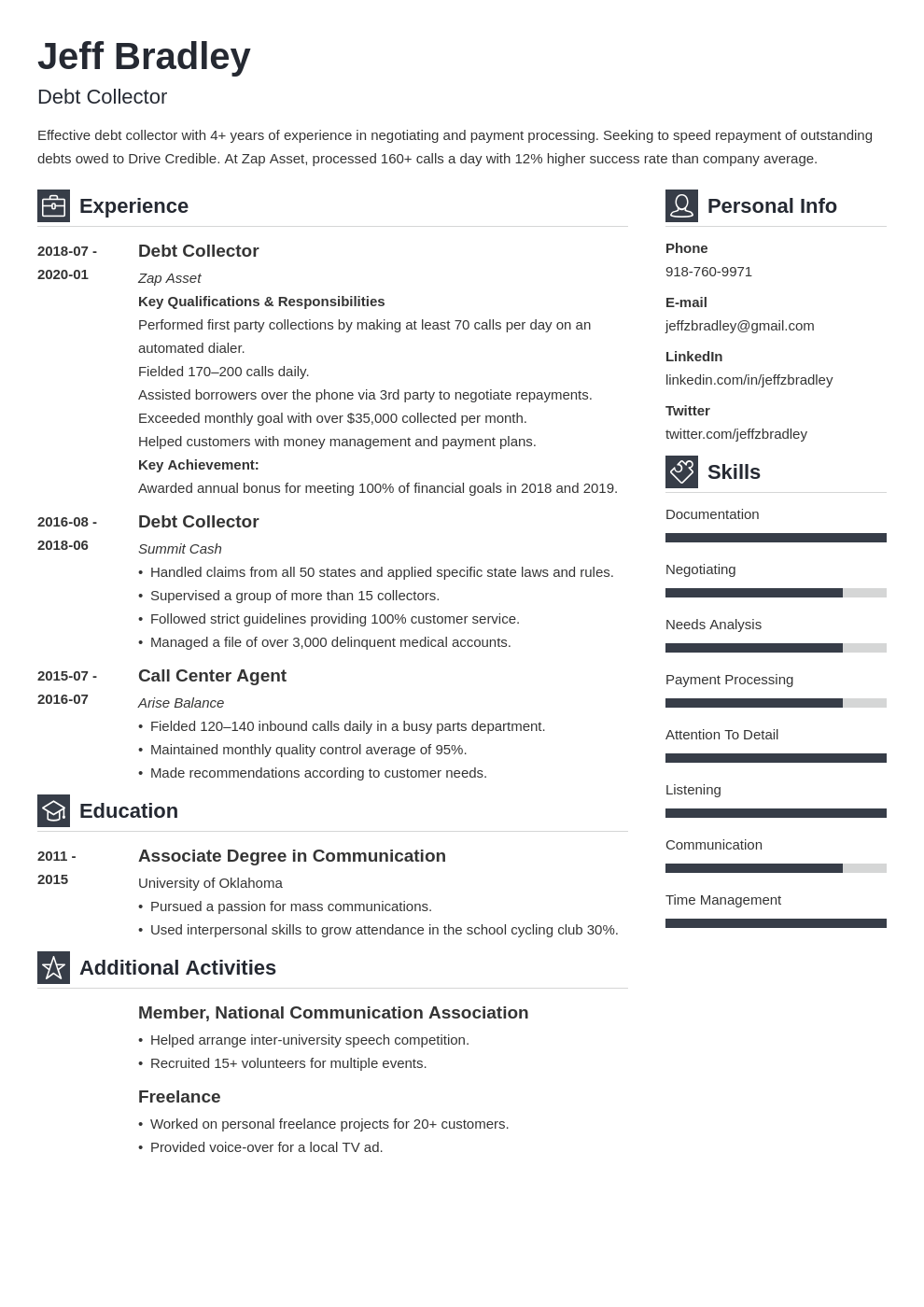 collector resume example template vibes