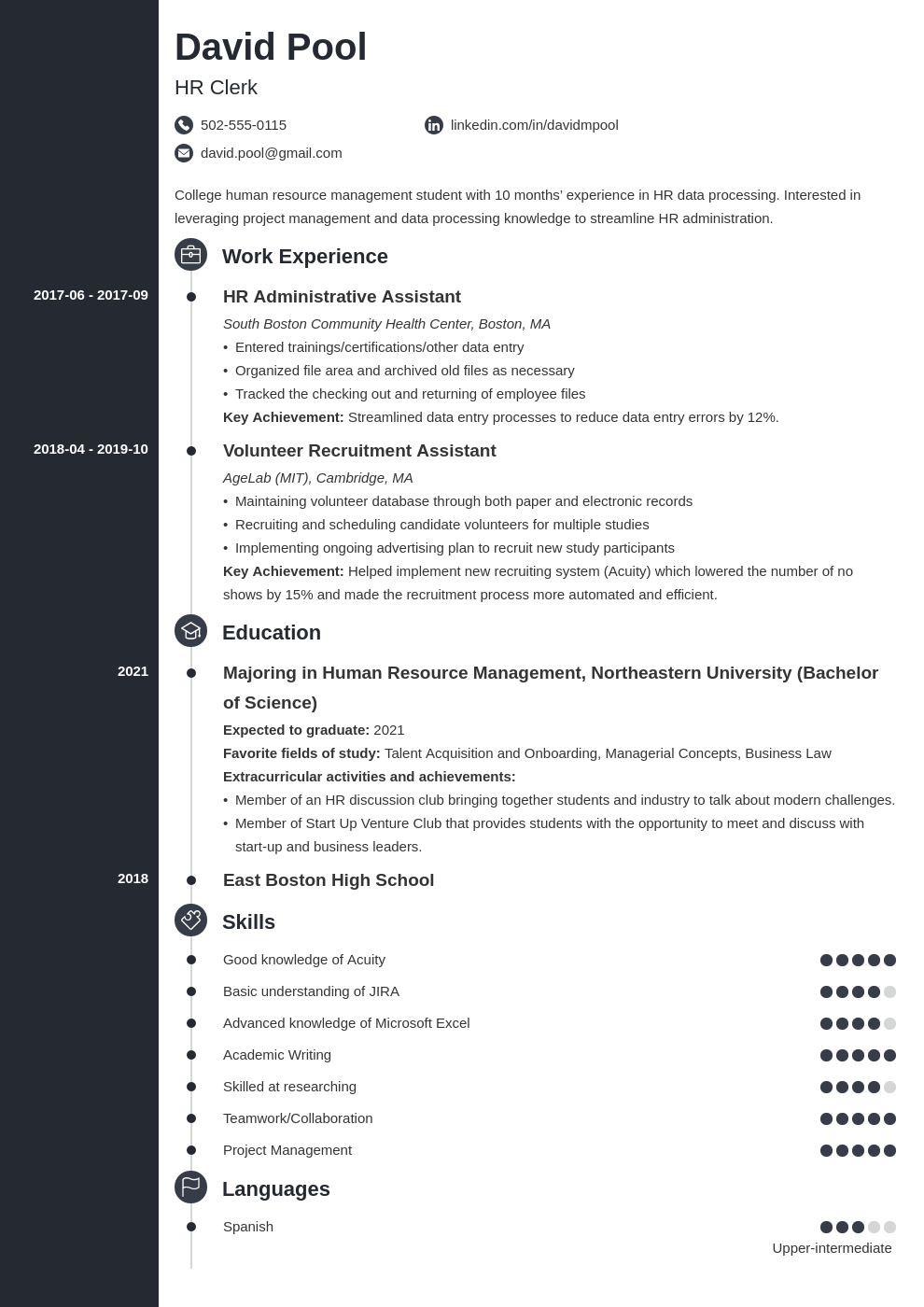 college freshman resume example template concept