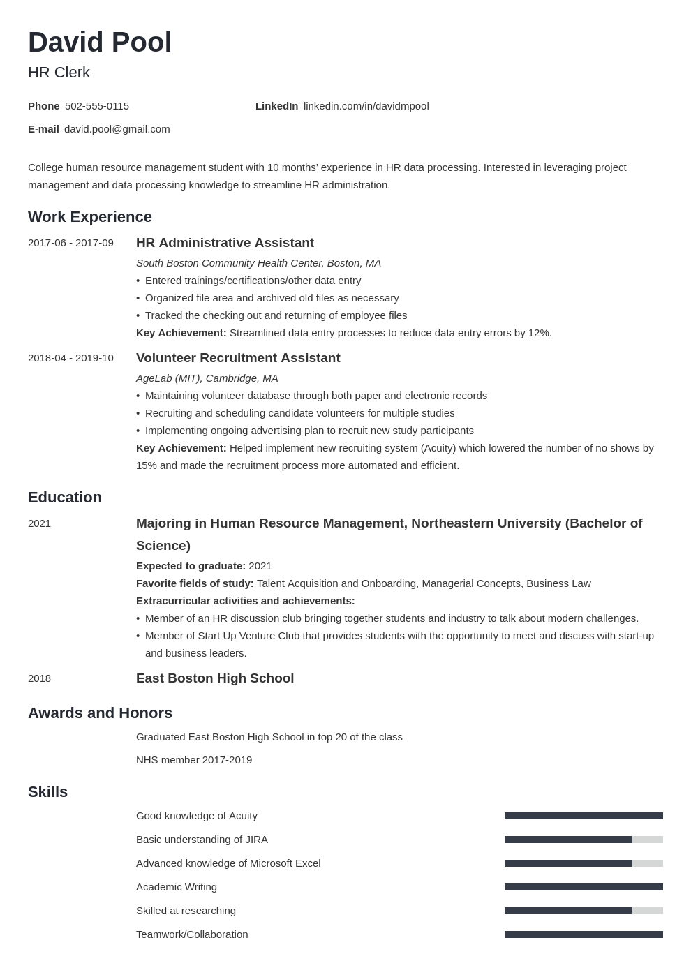 college freshman resume example template minimo