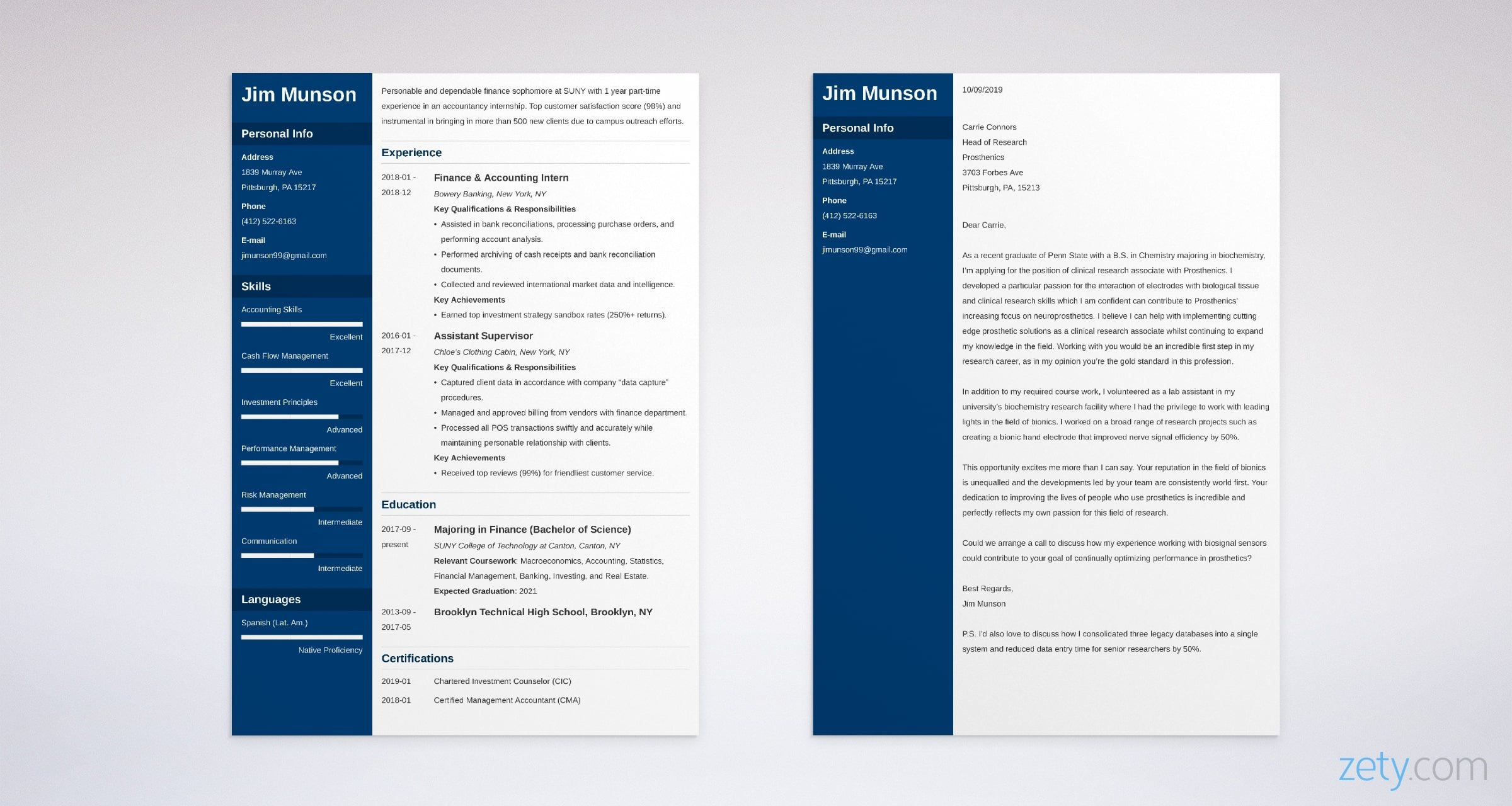 college student resume and cover letter set