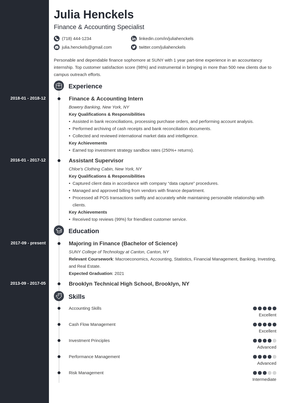 college student resume example template concept