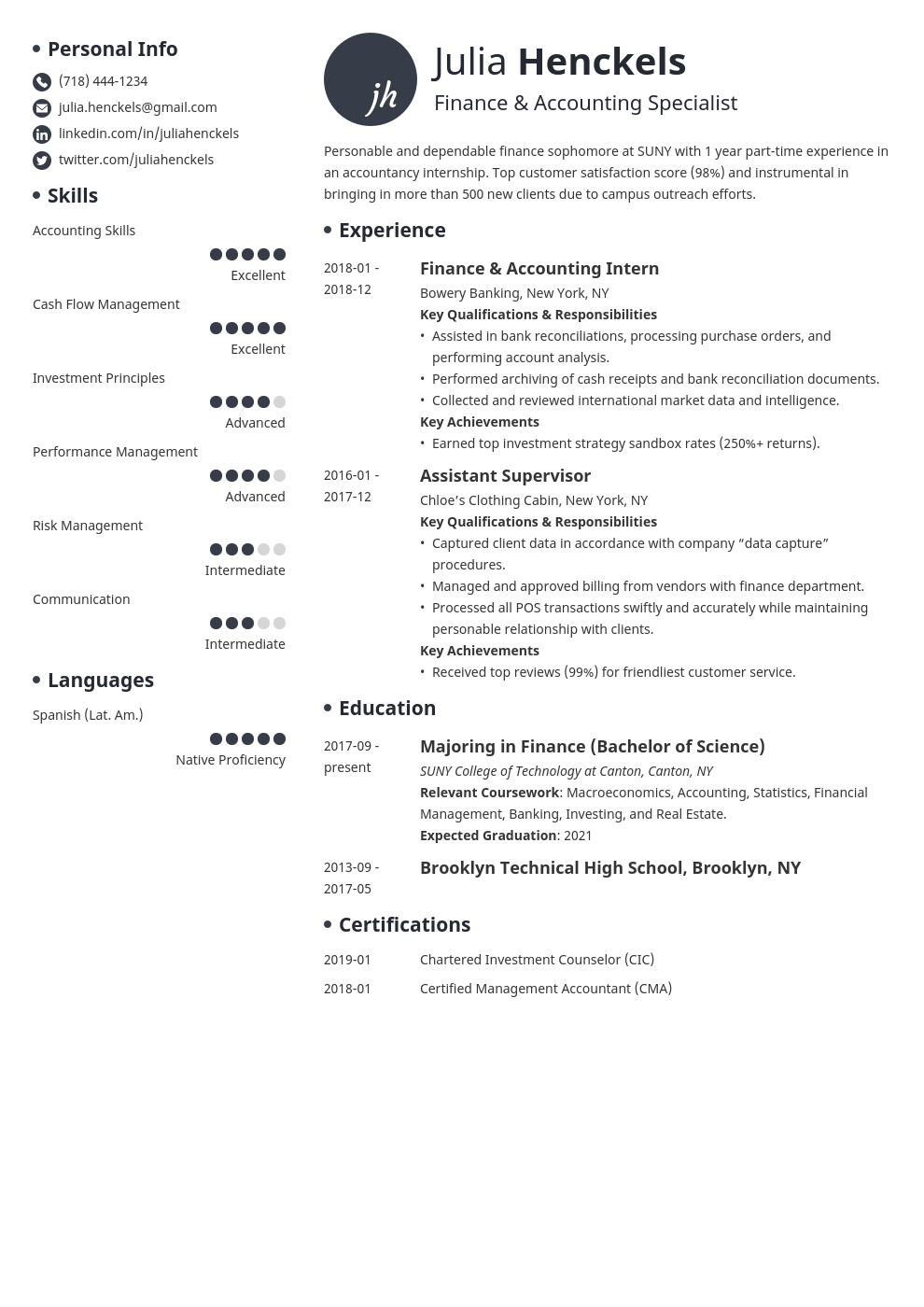 college student resume example template initials