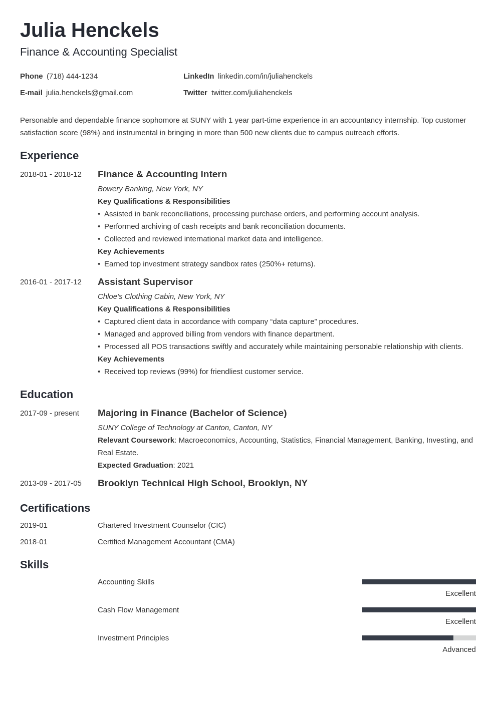 college student resume example template minimo