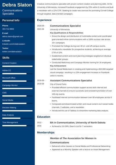 communications specialist resume example