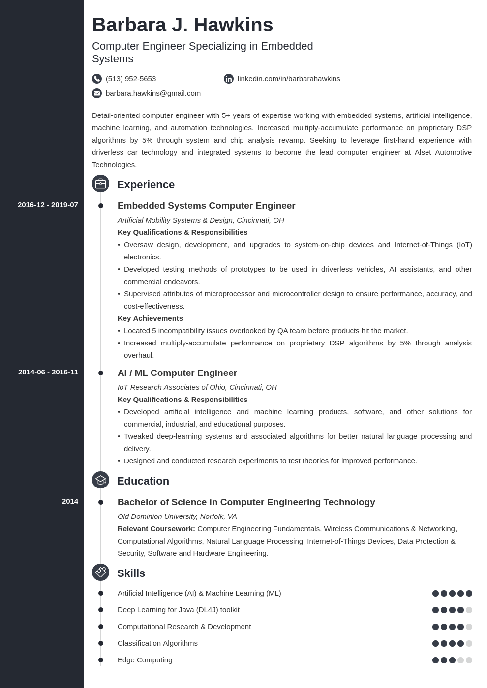 computer engineering resume example template concept