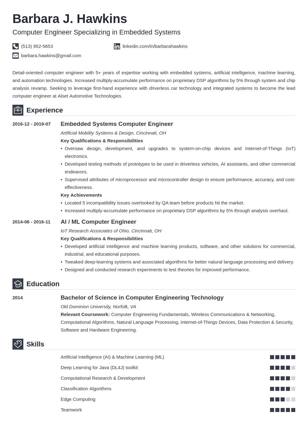 Computer Engineering Resume Examples Template Guide