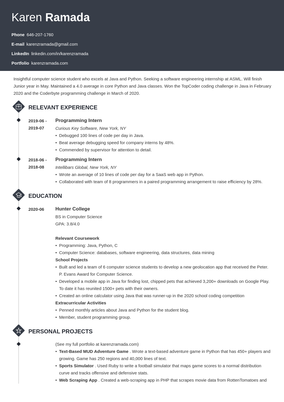 computer science internship resume template  guide