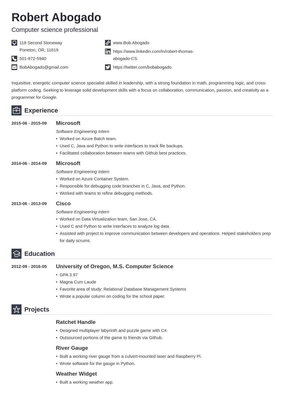 computer science resume template iconic