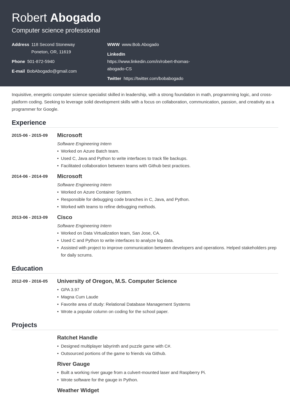 computer science resume template influx