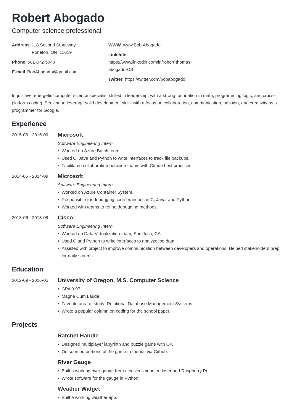 computer science resume template minimo