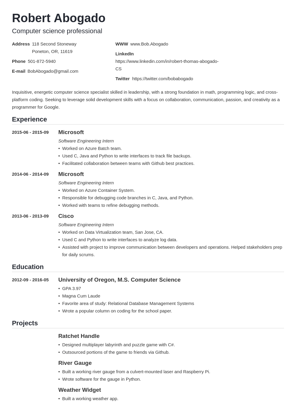 Computer Science Cs Resume Example Template Guide