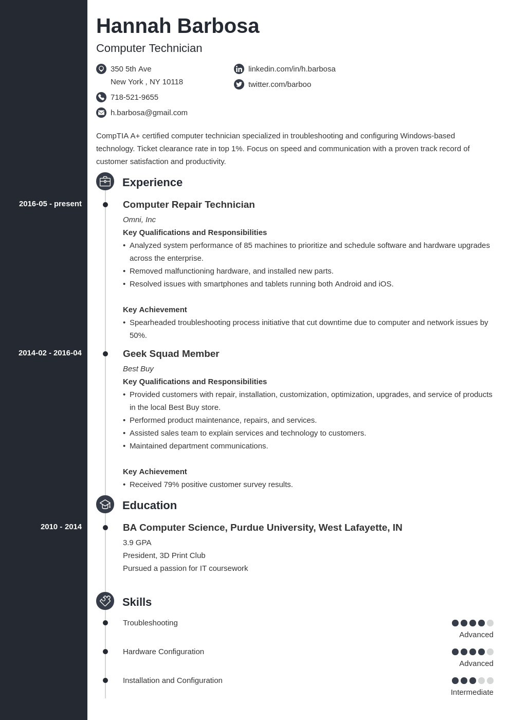 computer technician resume example template concept