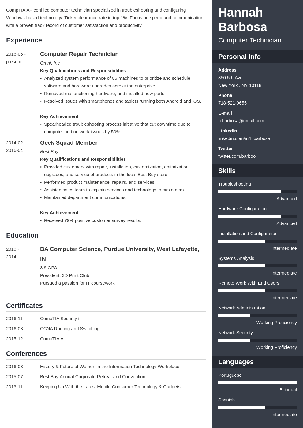 computer technician resume example template enfold