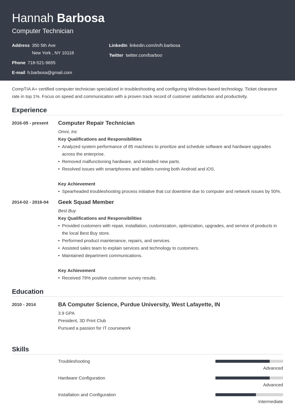 computer technician resume example template influx