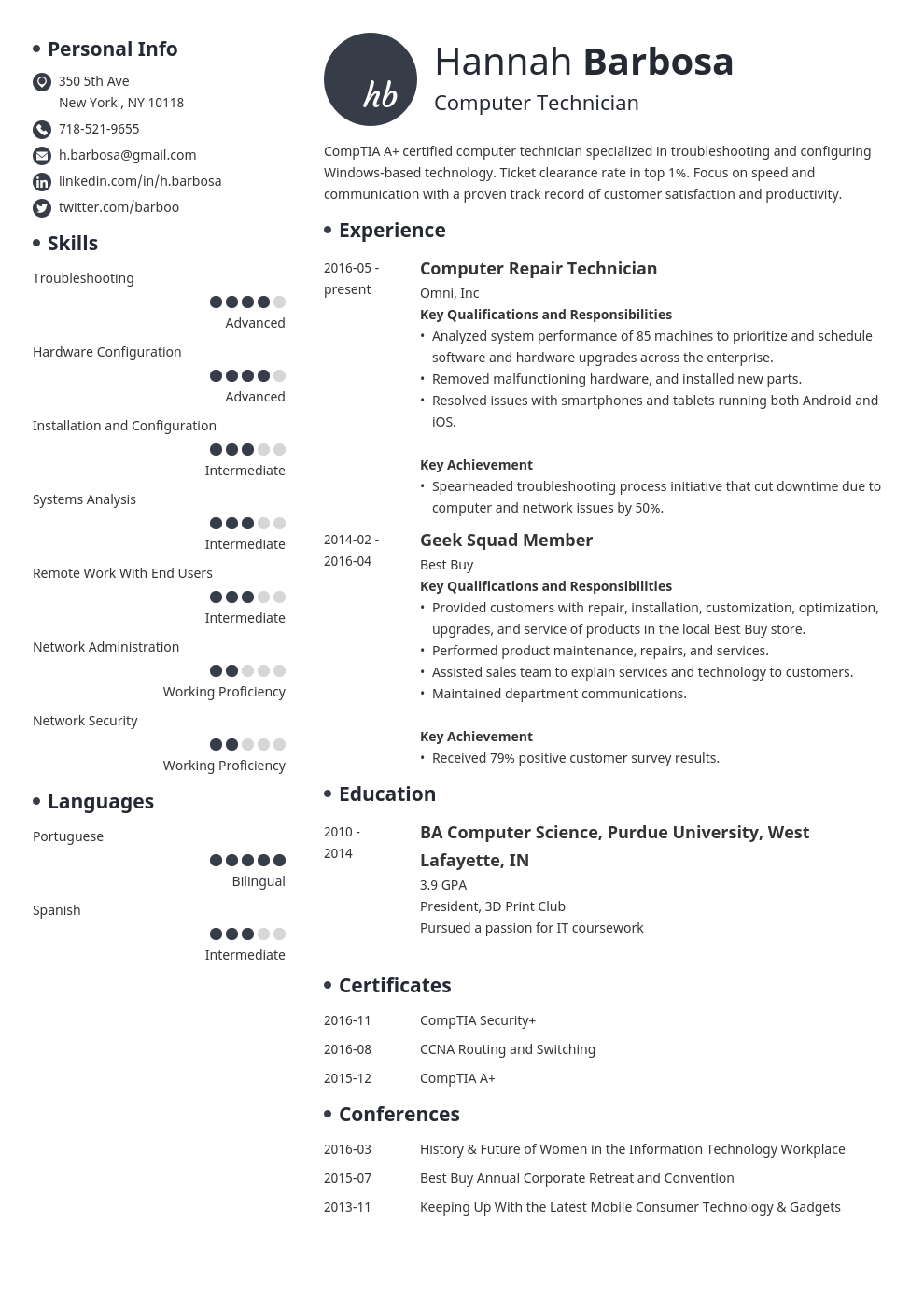 computer technician resume example template initials