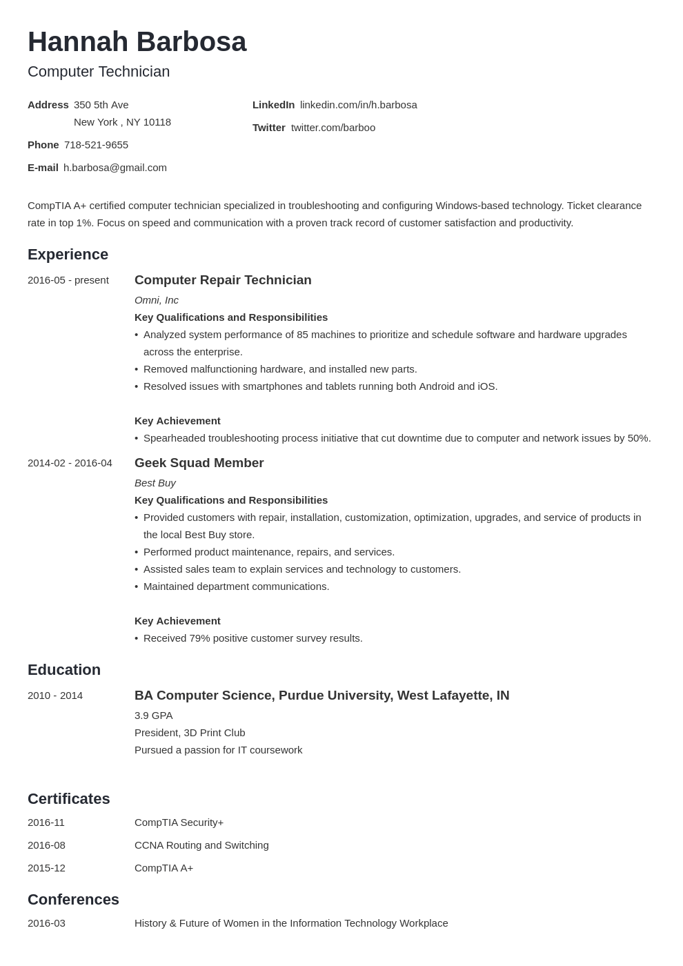 computer technician resume example template minimo