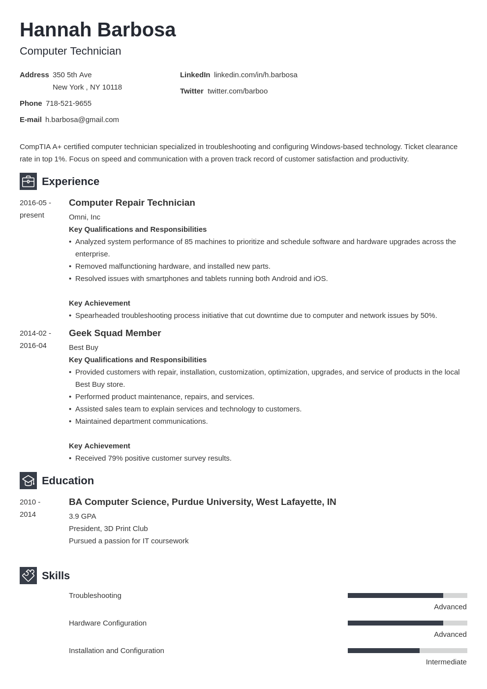 computer technician resume example template newcast