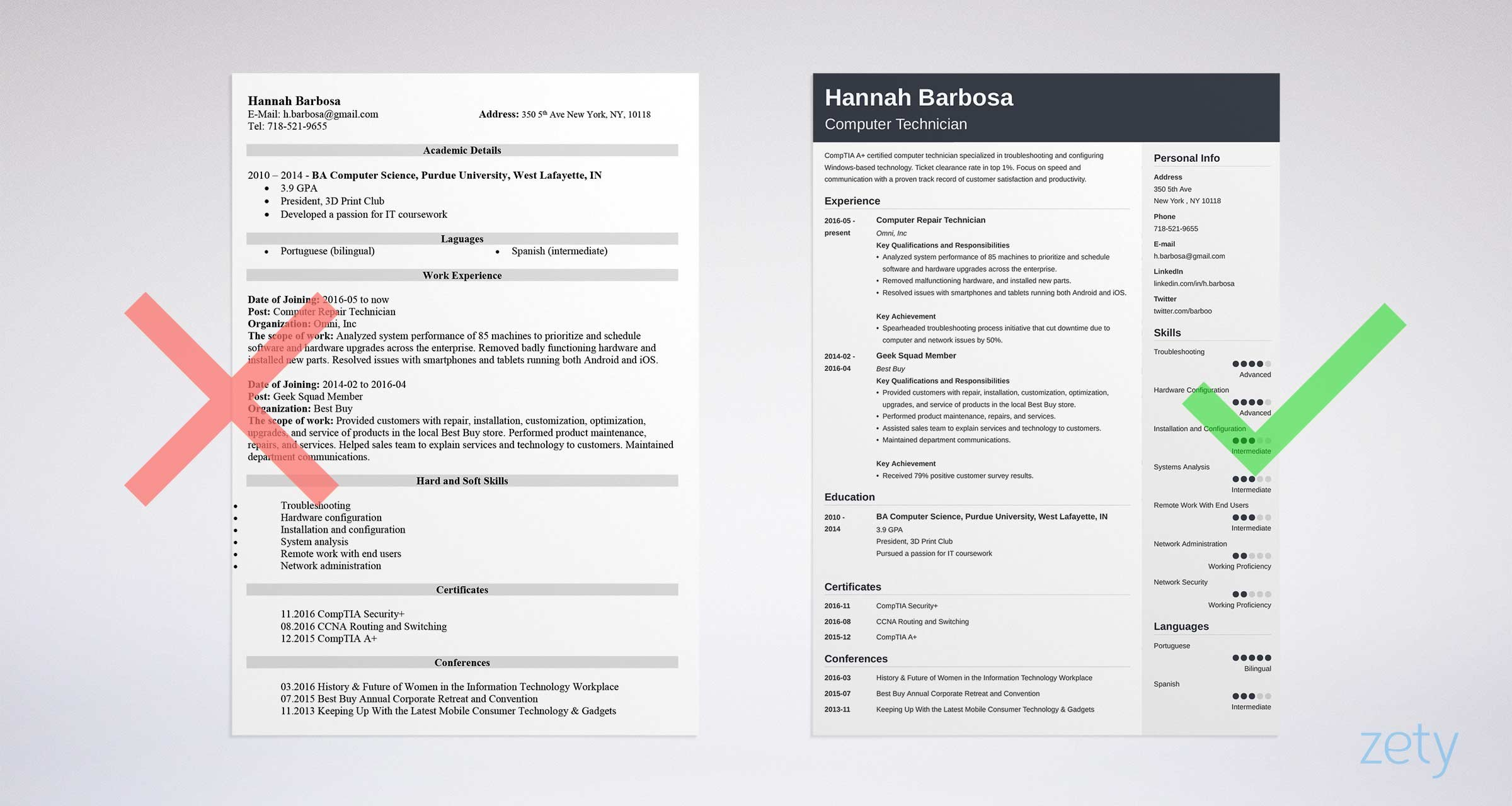 computer technician resume sample