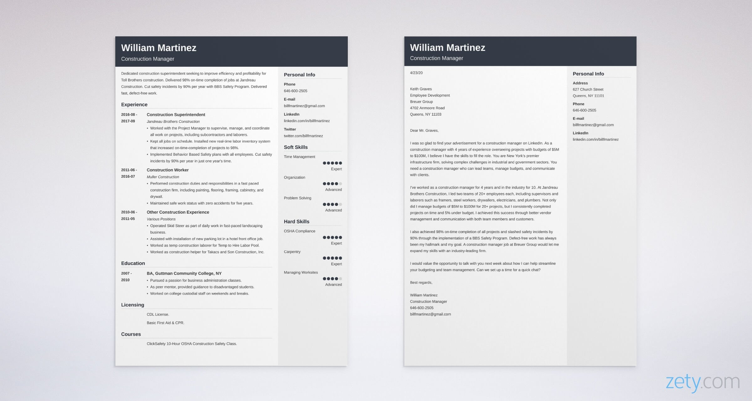 conctruction resume and cover letter set