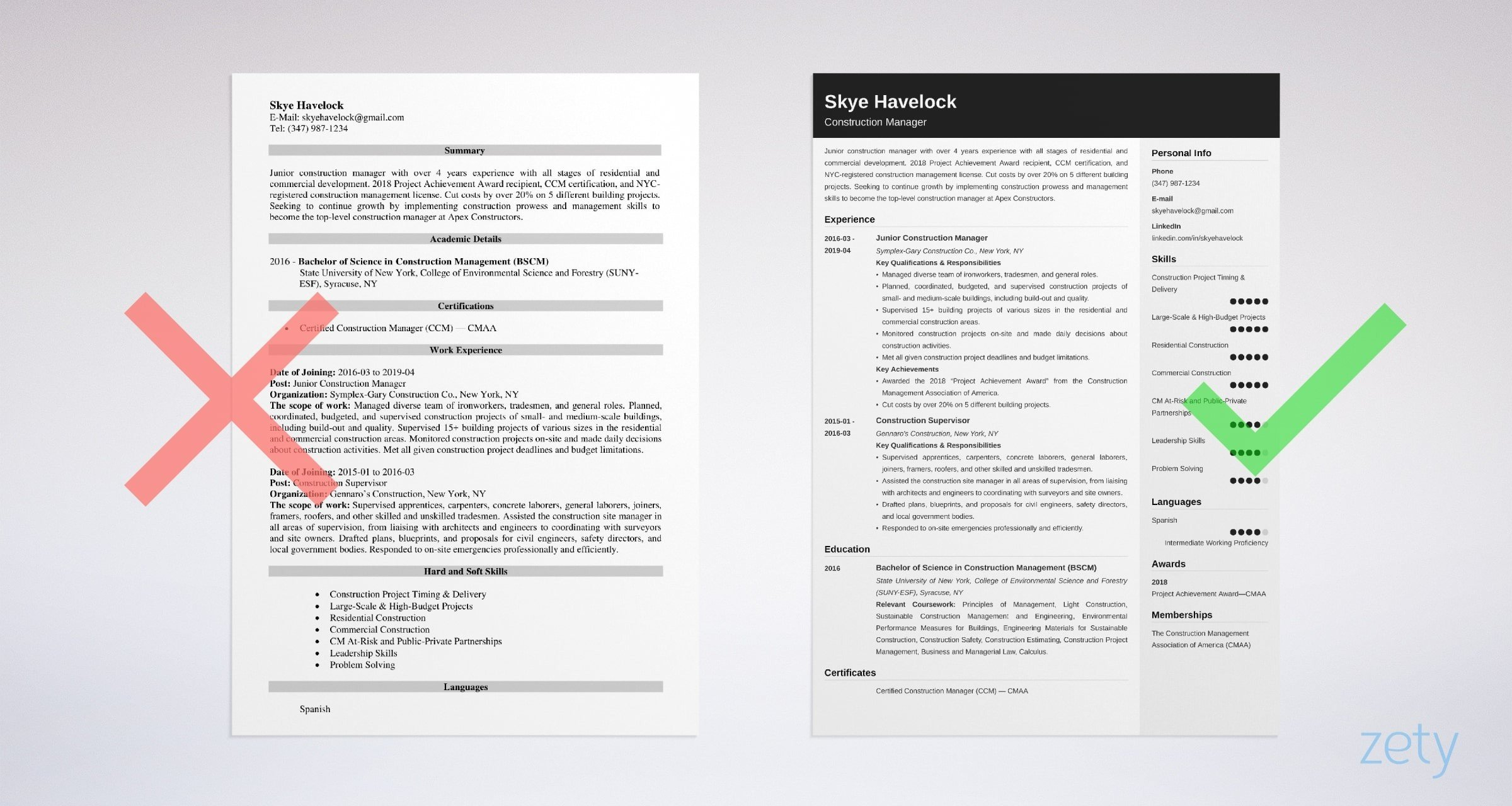 construction manager resume templates